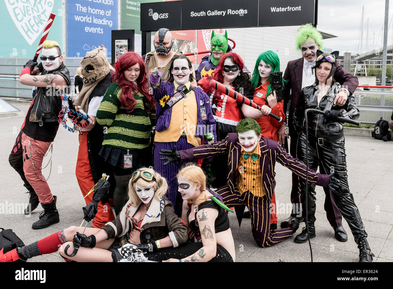 A group of cosplay enthusiasts attending the MCM London Comic Con at the Excel centre. - Stock Image