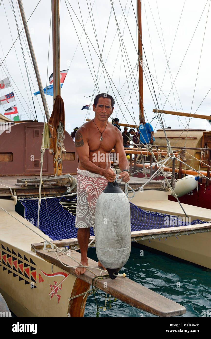 4th  May 2015  Avatiu Harbour, Rarotonga ,Cooks islands .  Crewman 'Bruno' on  one of the Vakas  that docked - Stock Image