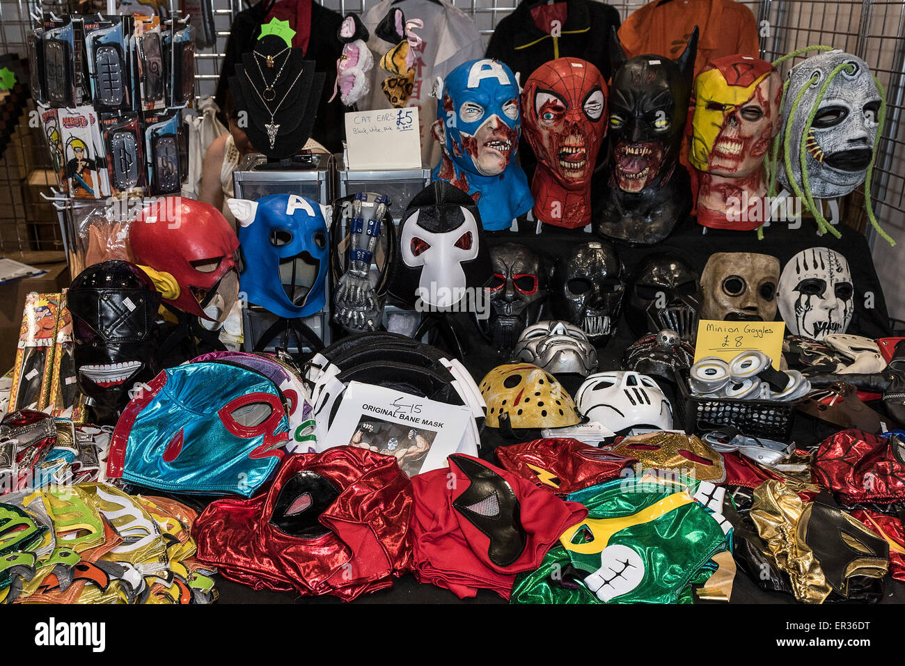 A stall selling various masks at the mcm london comic con at the excel centre