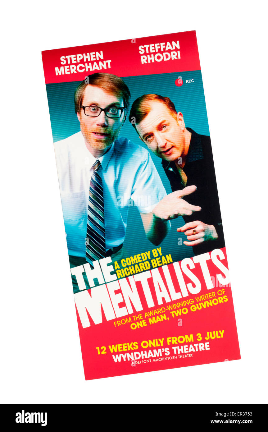 Promotional flyer for Stephen Merchant & Steffan Rhodri in 2015 production of the comedy The Mentalists by Richard - Stock Image