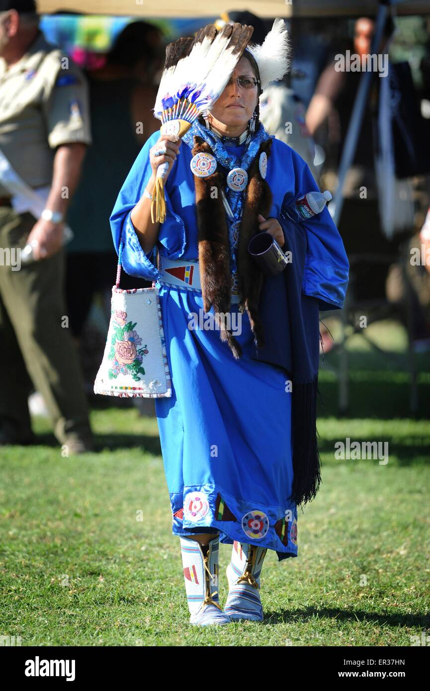 Retired United States Navy Chief Petty Officer, Linda Old Horn-Purty, a member of the Crow tribe dances the traditional - Stock Image