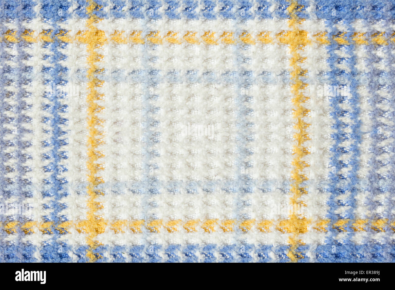 background of wool blanket detail with squares - Stock Image