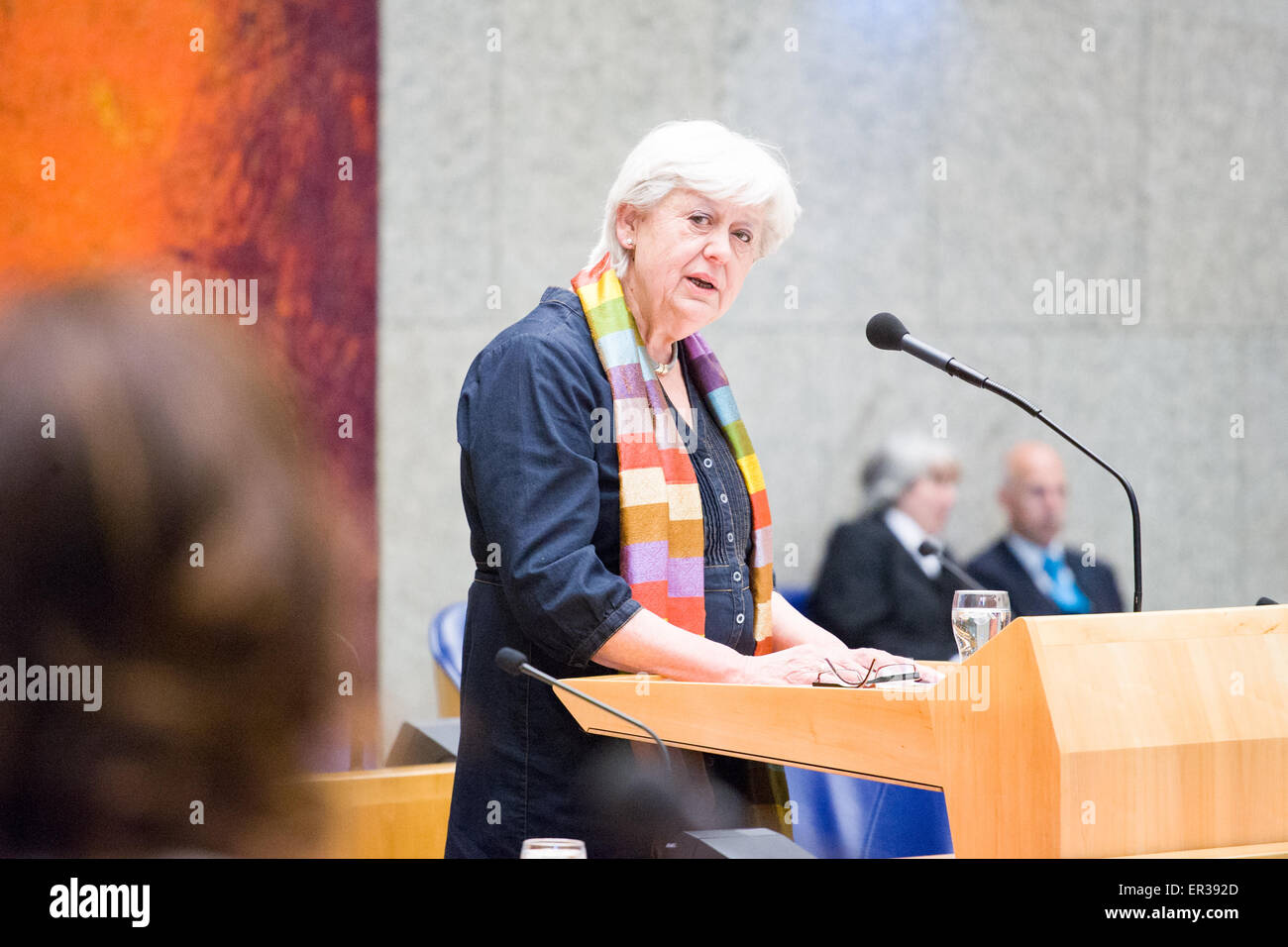 Saskia Stuiveling, president of the Court of Audits is seen presenting the yearly financial accounting report to Stock Photo