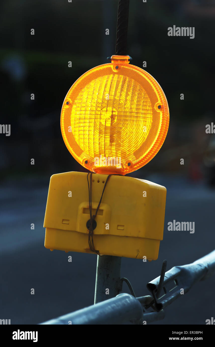 traffic yellow light signal for caution - Stock Image
