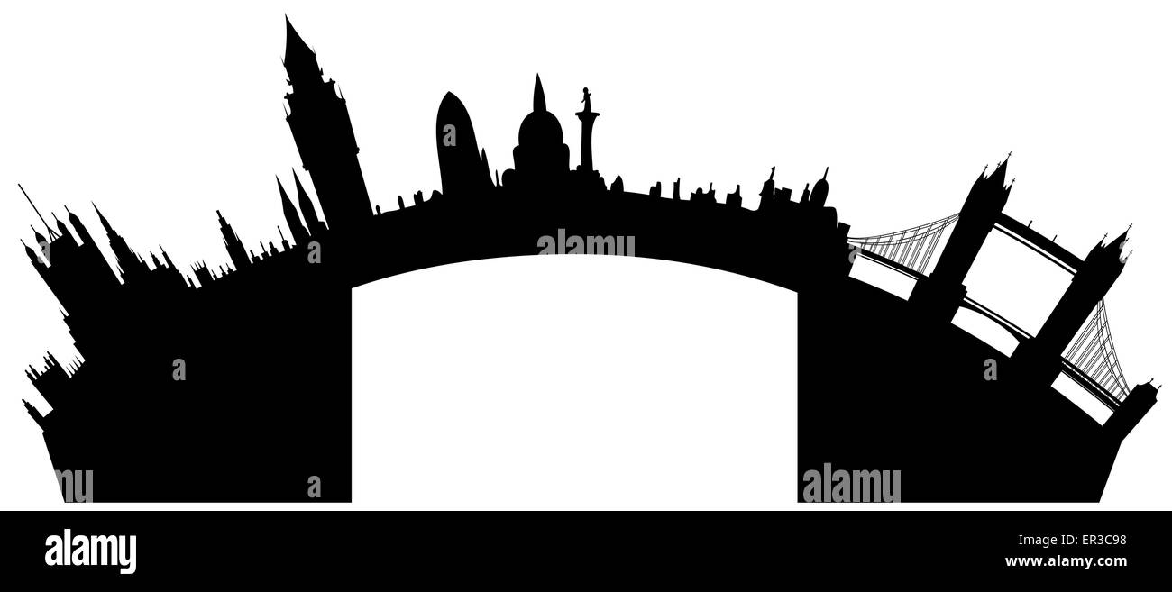 Vector London skyline - Big Ben, London Eye, Tower Bridge, Westminster - Stock Vector