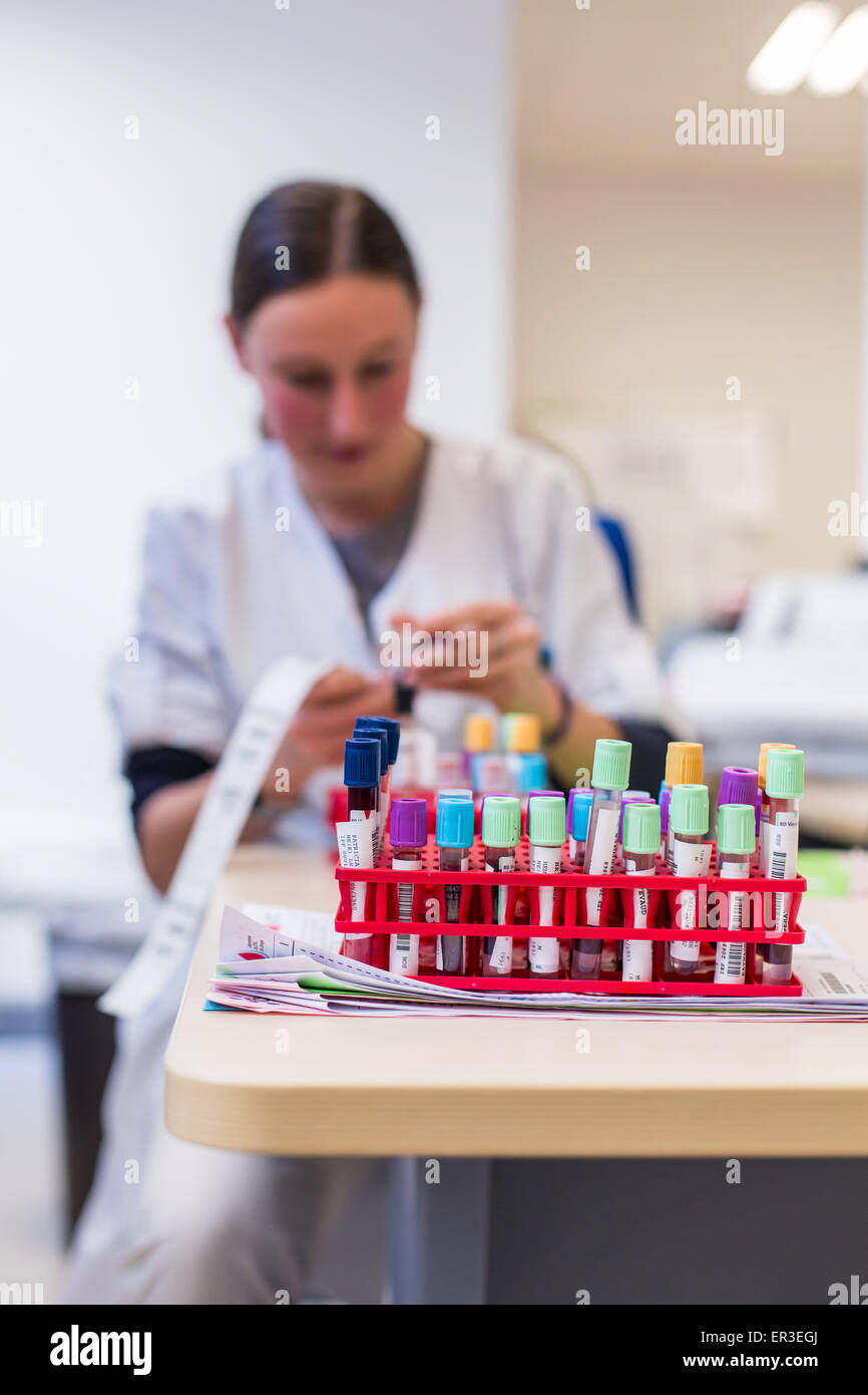 Blood analysis, Biology and Research Center in University Hospital Health, Limoges, France. - Stock Image