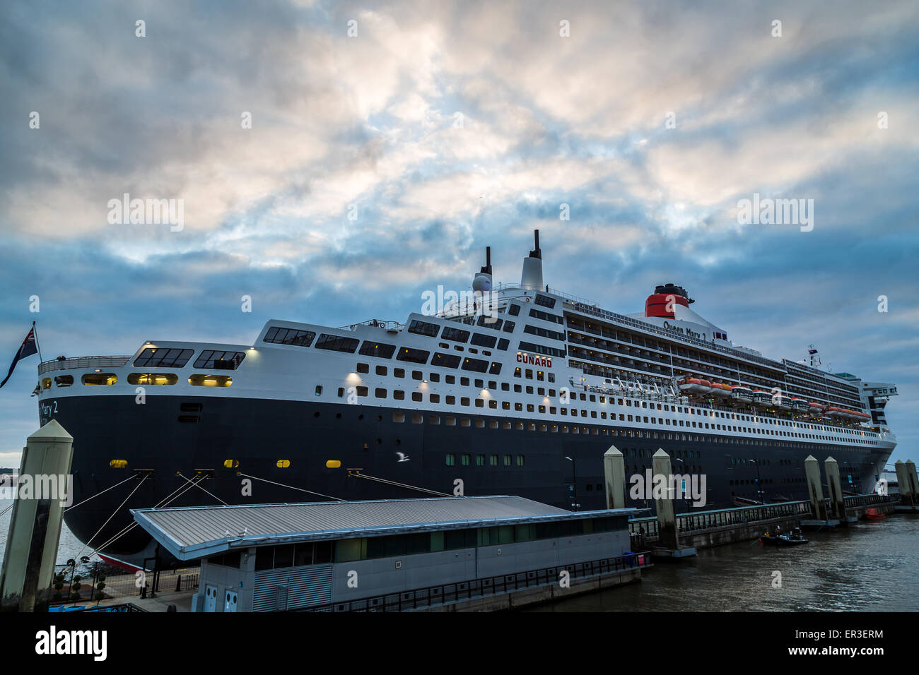 Queen Mary 2 berthed in Liverpool. - Stock Image