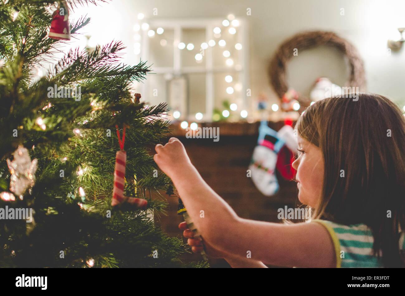Girl decorating a Christmas tree - Stock Image