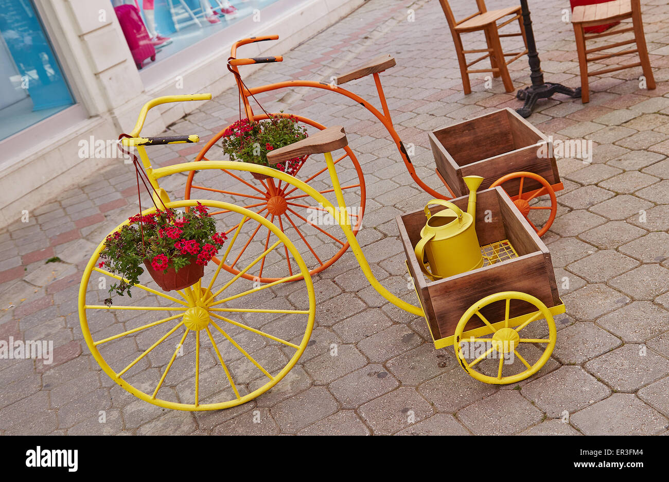 Ornamental Penny Farthing Tricycles Planters With Trugs On Display