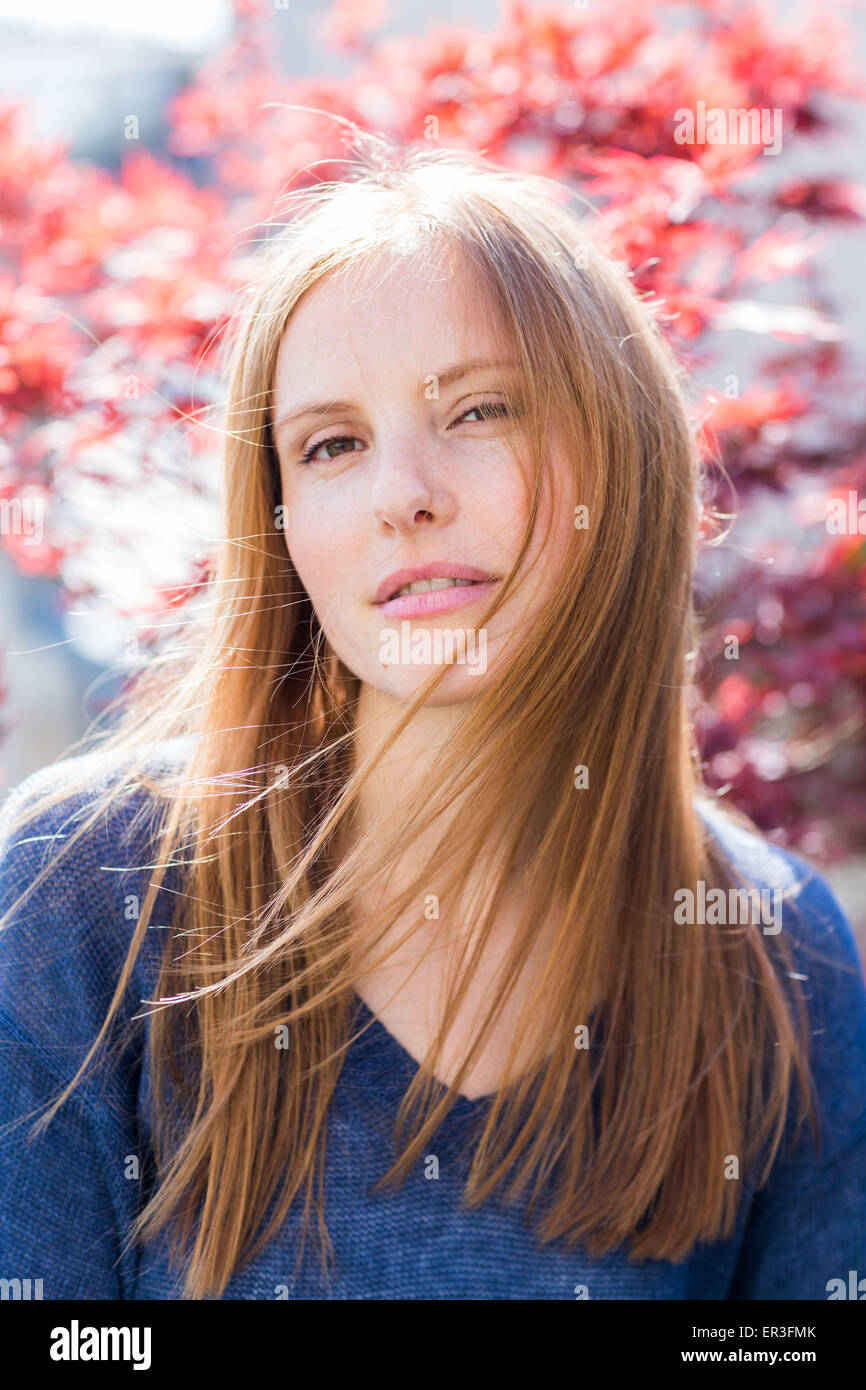 Portrait of a young woman. - Stock Image