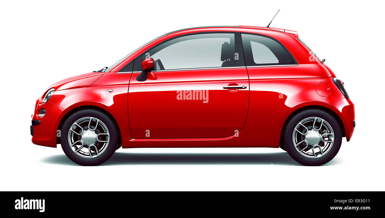 Red city car - side view - Stock Image