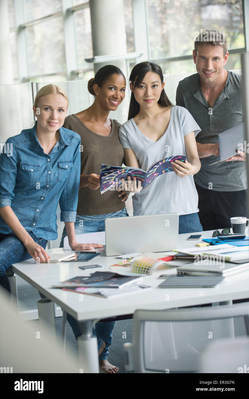 Group projects build employee morale - Stock Image