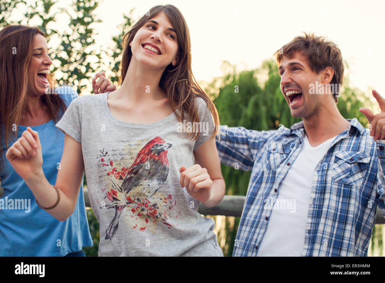 College friends at outdoors party - Stock Image