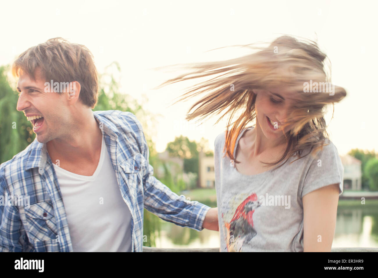 Friends partying outdoors - Stock Image