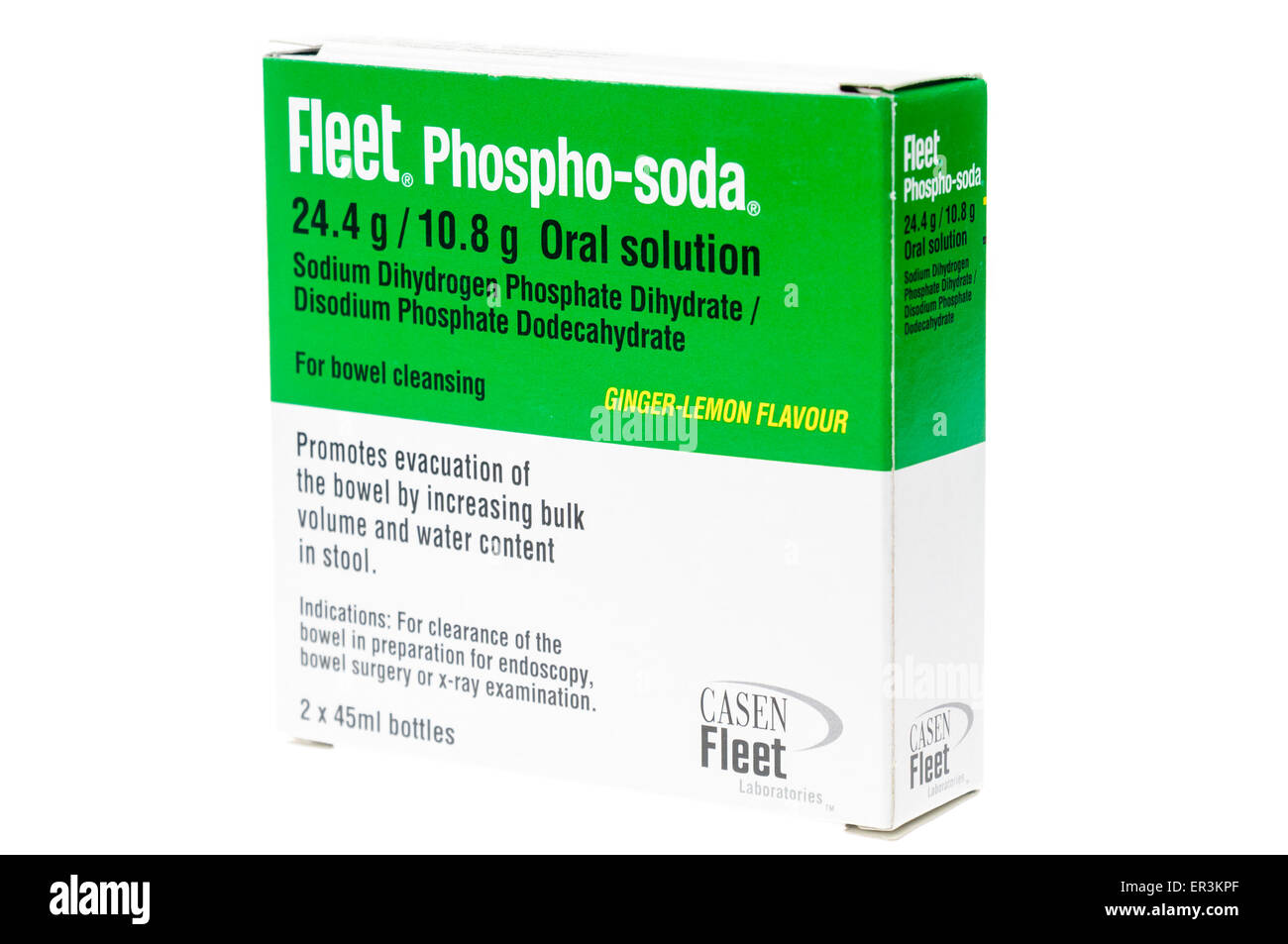 Fleet phospho-soda bowl preparation oral solution, used to clear bowels prior to procedures such as colonoscopies. - Stock Image