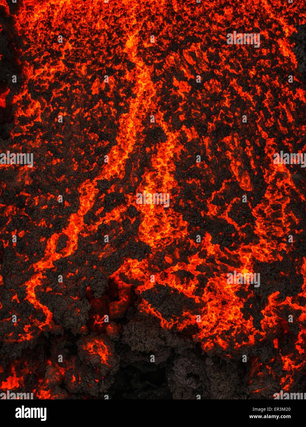 Glowing lava, eruption at the Holuhraun Fissure, Bardarbunga Volcano, Iceland. - Stock Image