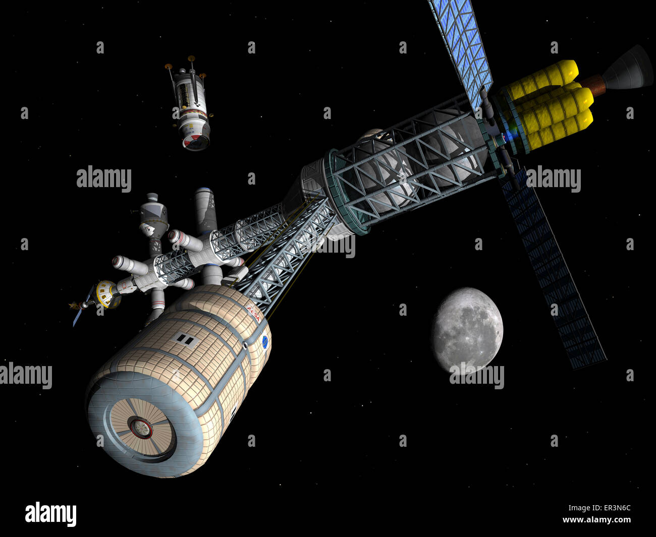 A living quarters module, secured to the end of a centrifuge boom, swings into the foreground while an unmanned - Stock Image
