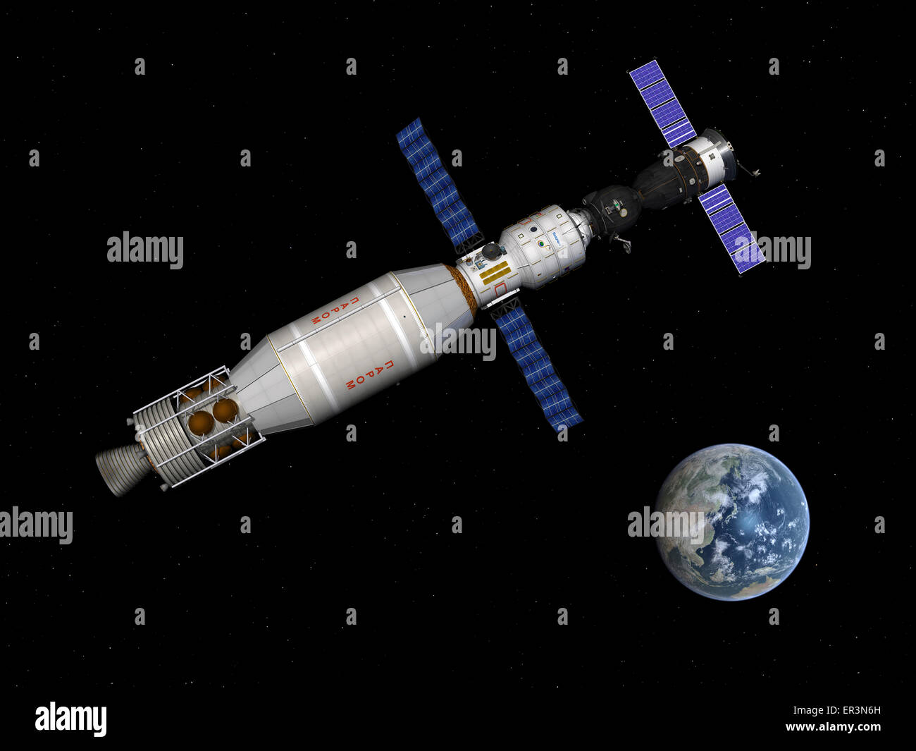 A manned Soyuz TMA-M spacecraft docked with a three-person extended stay module begins to leave Earth orbit with - Stock Image