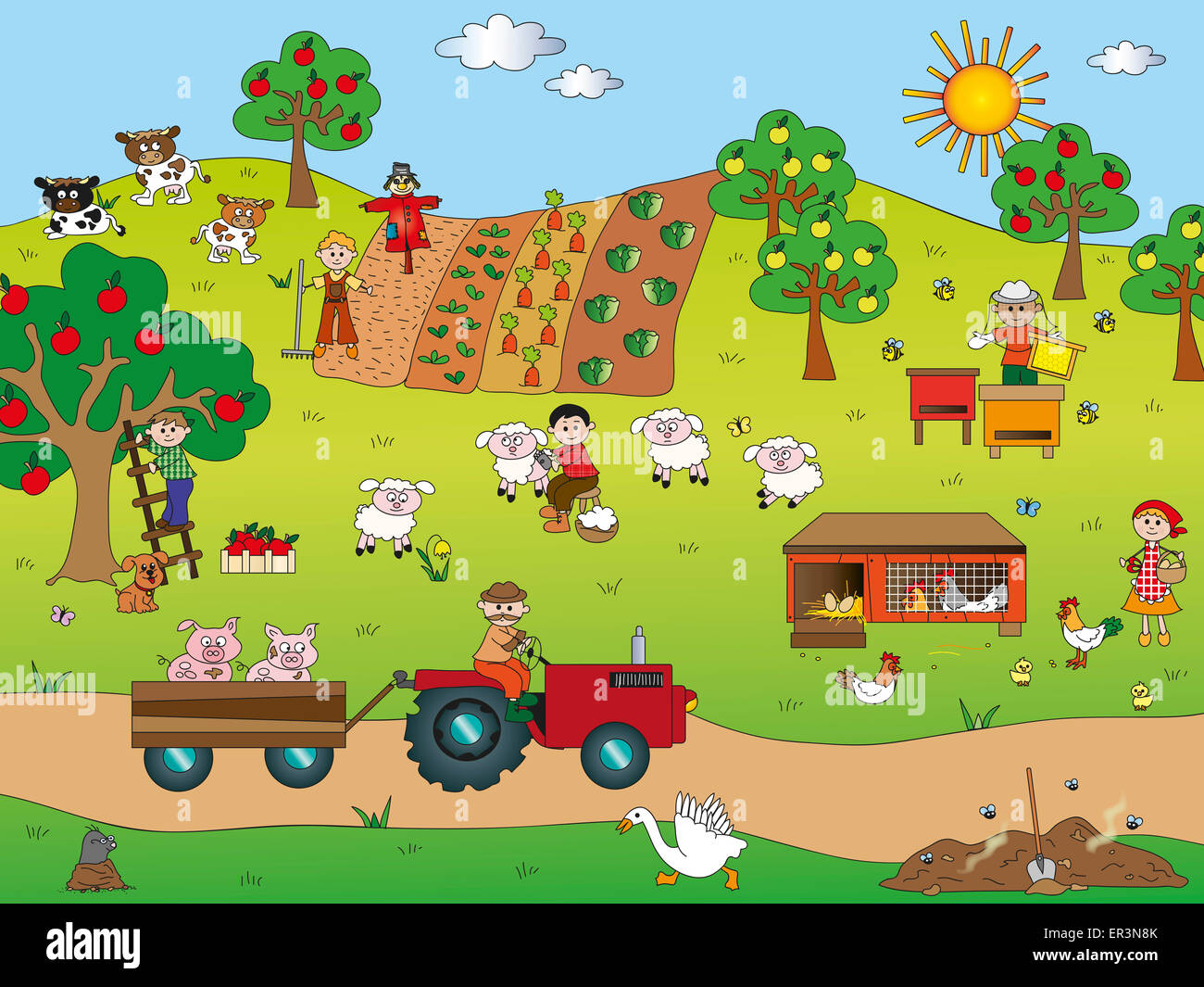 Illustration Of Country Landscape With Farm Animals Stock