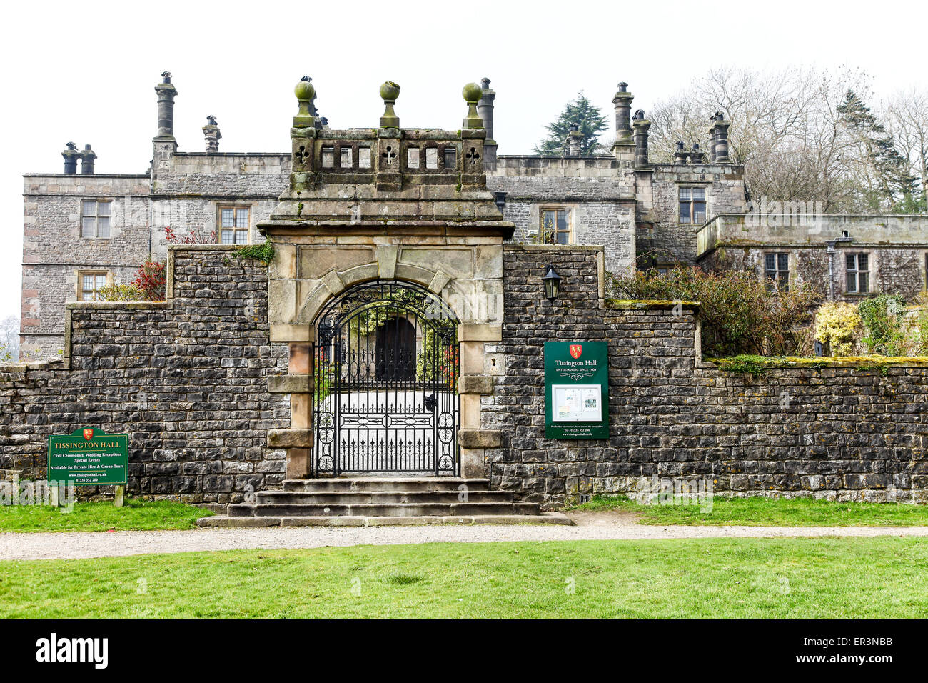 Tissington Hall is an early 17th-century Jacobean mansion house in Tissington, near Ashbourne, Derbyshire, England, Stock Photo