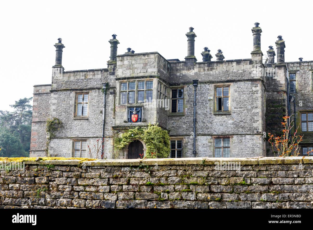 Tissington Hall is an early 17th-century Jacobean mansion house in Tissington, near Ashbourne, Derbyshire, England, Stock Photo
