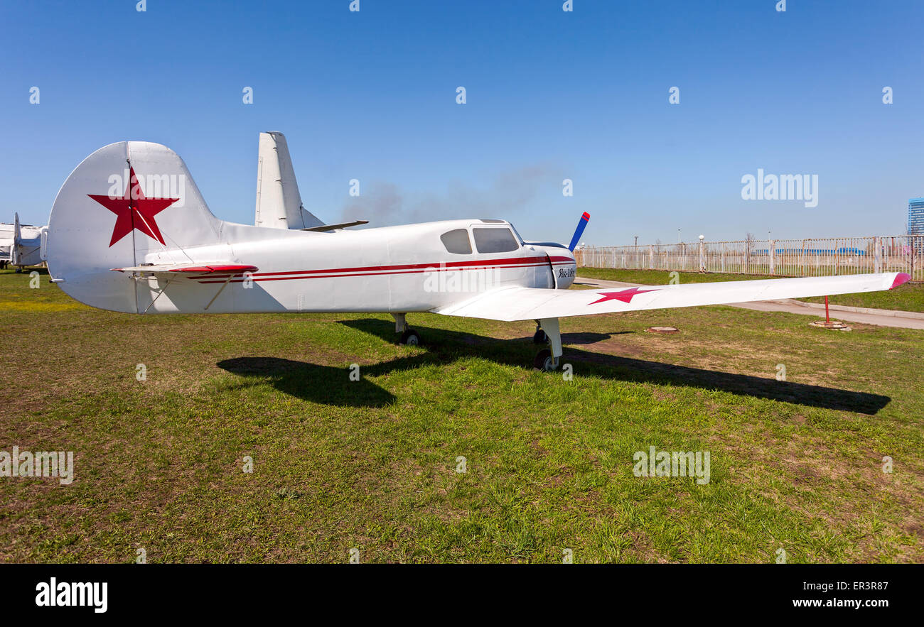 High Quality Light Sport Aircraft Yak 18T In Togliatti Technical Museum In Sunny Day    Stock Image