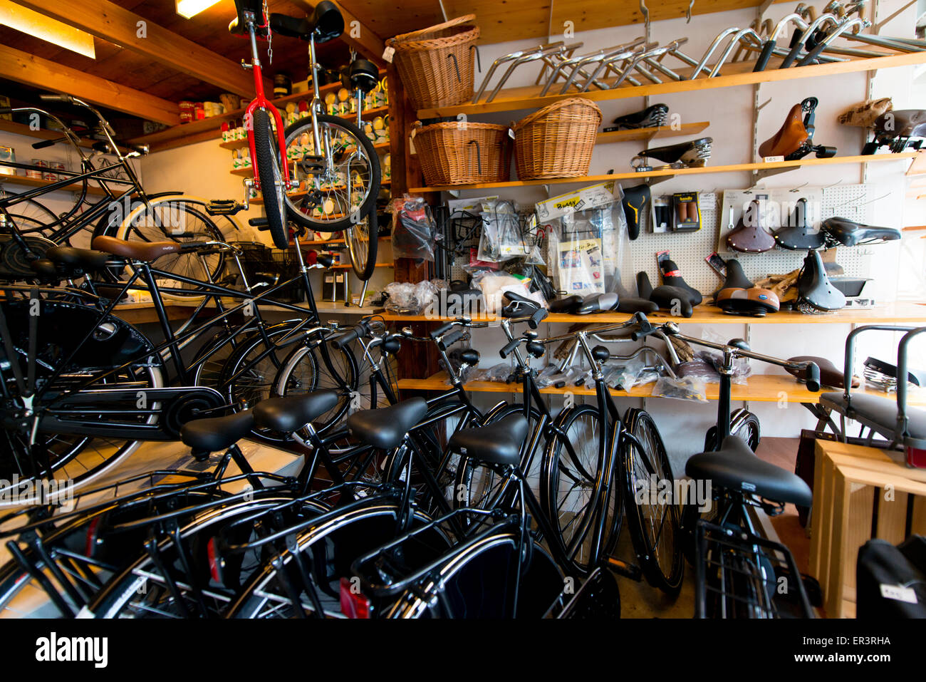 Old fashioned bicycle repair shop in Amersfoort, The Netherlands Stock Photo