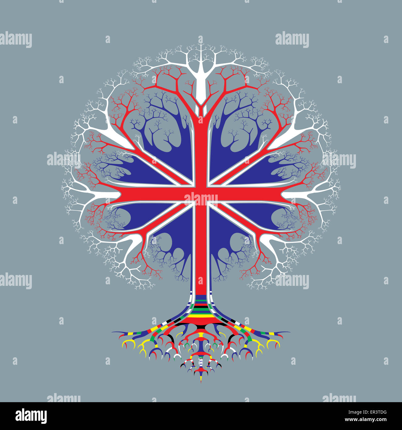 United Kingdom Flag - Oak Tree - Union Jack - Political Symbol - Visual metaphor for unity - Roots of multicultural - Stock Image