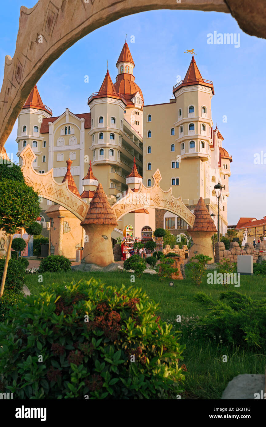 Sochi adventure park, the hotel complex 'Bogatyr', styled medieval castle. Built for the 2014 Olympic Games. - Stock Image