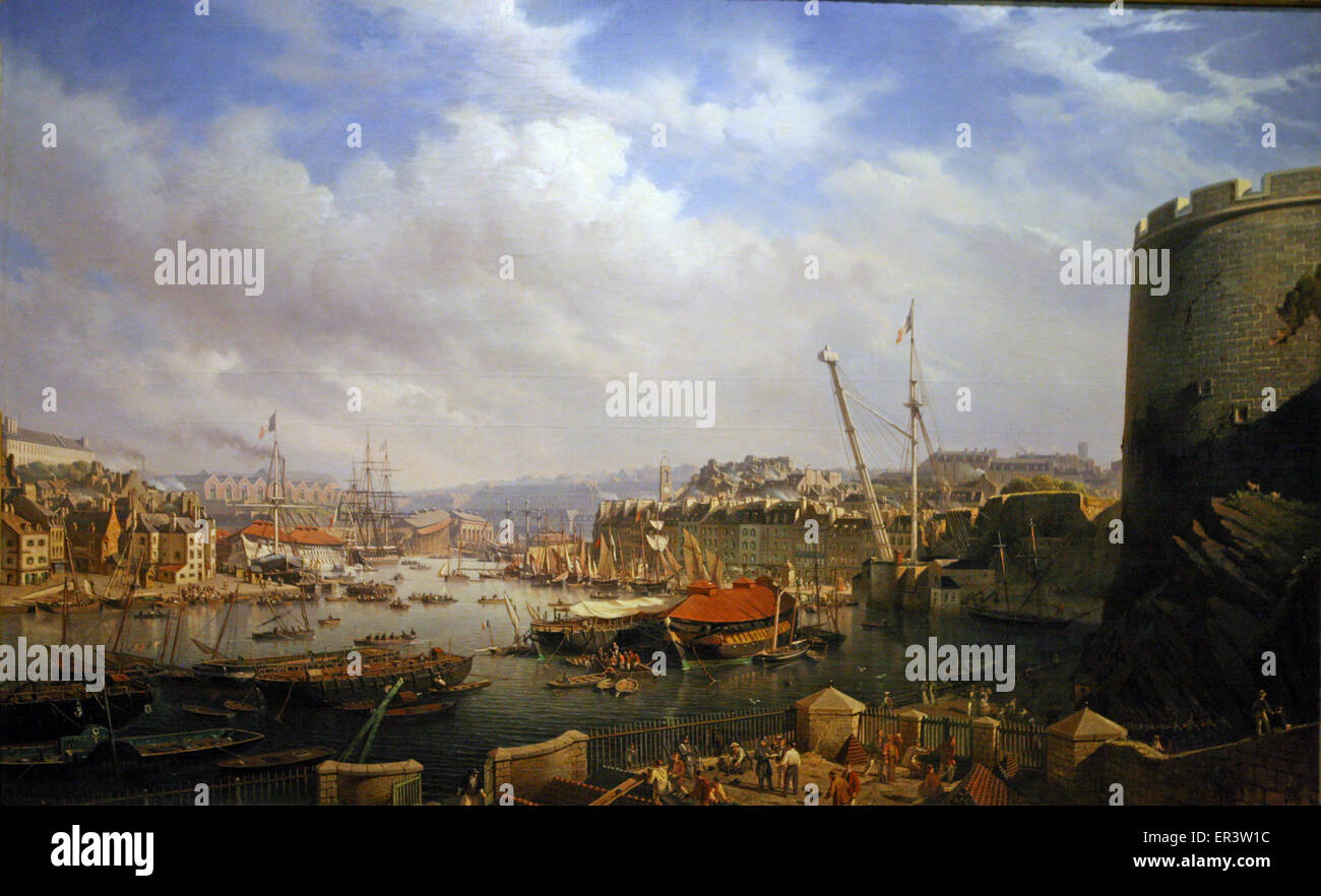 Port of Brest 1854 France - Stock Image