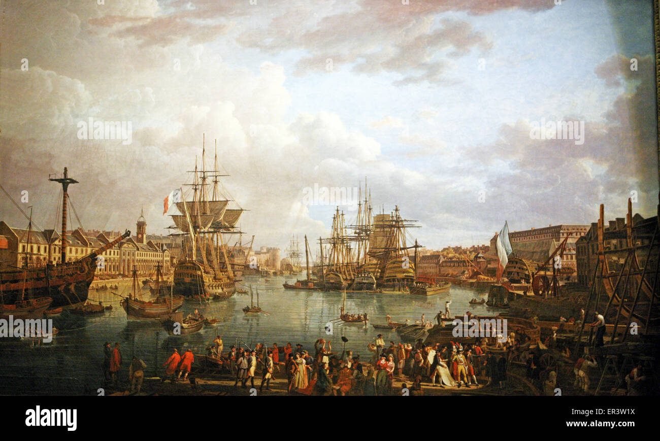 port of Brest  France 1793 - Stock Image