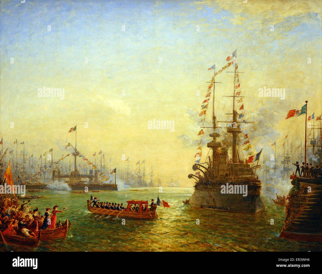 The visit of President Loubet to the french and italian ships at Toulon in 1901 - Stock Image