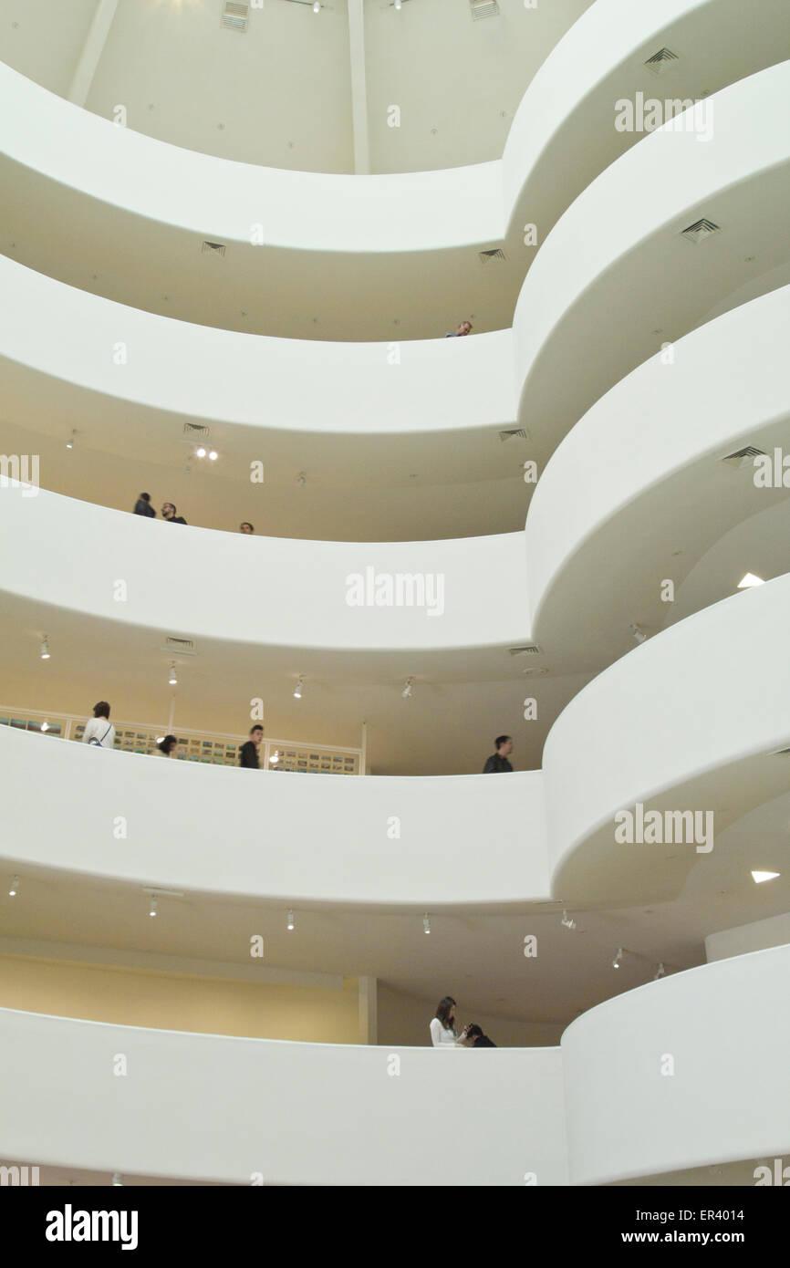 Interior of Guggenheim Museum, New York City - Stock Image