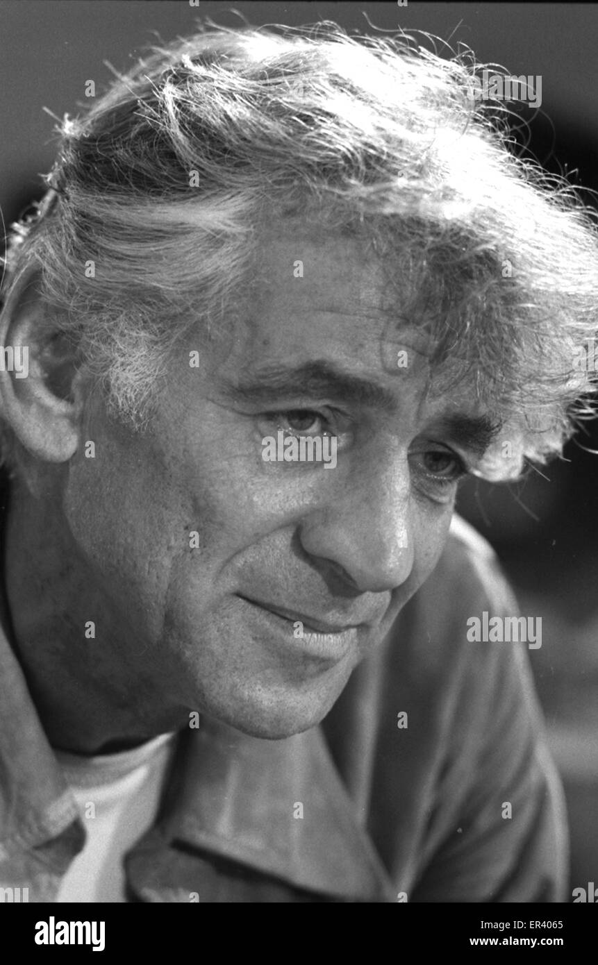 Leonard Bernstein, American composer, conductor, author, music lecturer, and pianist. - Stock Image