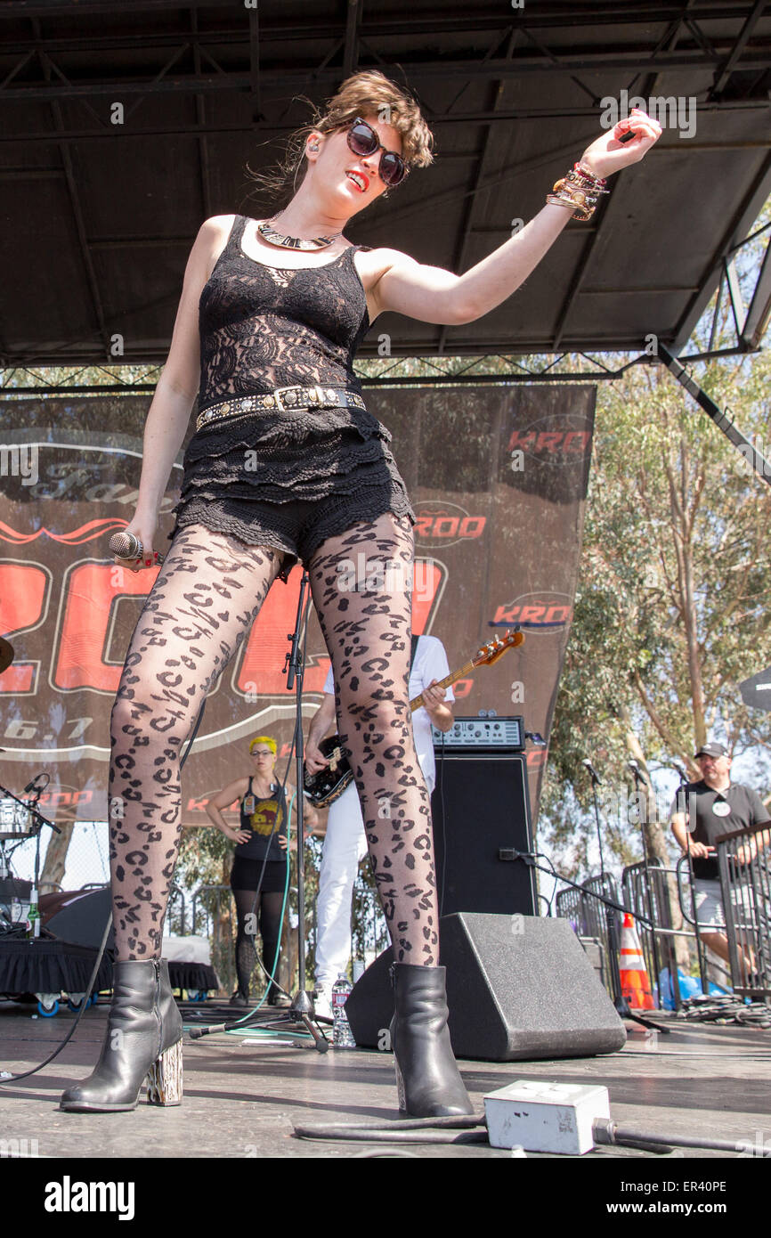 Irvine, California, USA. 16th May, 2015. Singer LIZY RYAN of Big Data performs live during the KROQ Weenie Roast Y Fiesta at Irvine Meadows Amphitheatre in Irvine, California © Daniel DeSlover/ZUMA Wire/Alamy Live News Stock Photo