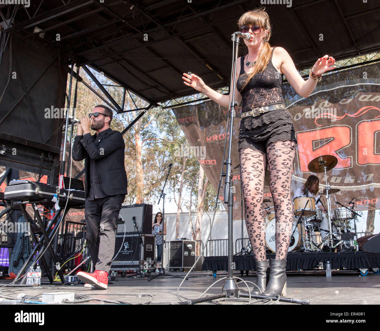 Irvine, California, USA. 16th May, 2015. ALAN WILKIS (L) and LIZY RYAN of Big Data perform live during the KROQ Weenie Roast Y Fiesta at Irvine Meadows Amphitheatre in Irvine, California © Daniel DeSlover/ZUMA Wire/Alamy Live News Stock Photo