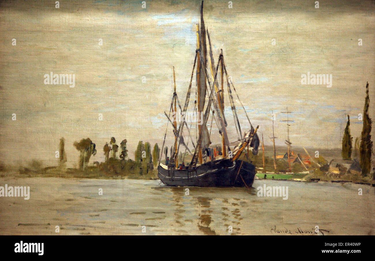 Claude Monet French chasse-maree at anchor near Rouen 1872 Chasse-marée à l`ancre. près de Rouen - Stock Image