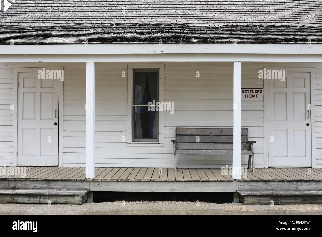 A settler's home at the Laura Ingalls Wilder museum in Walnut Grove, Minnesota. - Stock Image