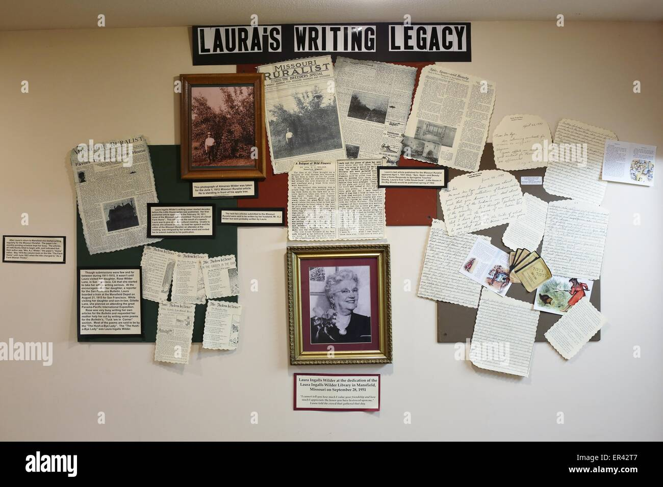 A wall display containing letters and news articles at the Laura Ingalls Wilder museum in Walnut Grove, Minnesota. - Stock Image