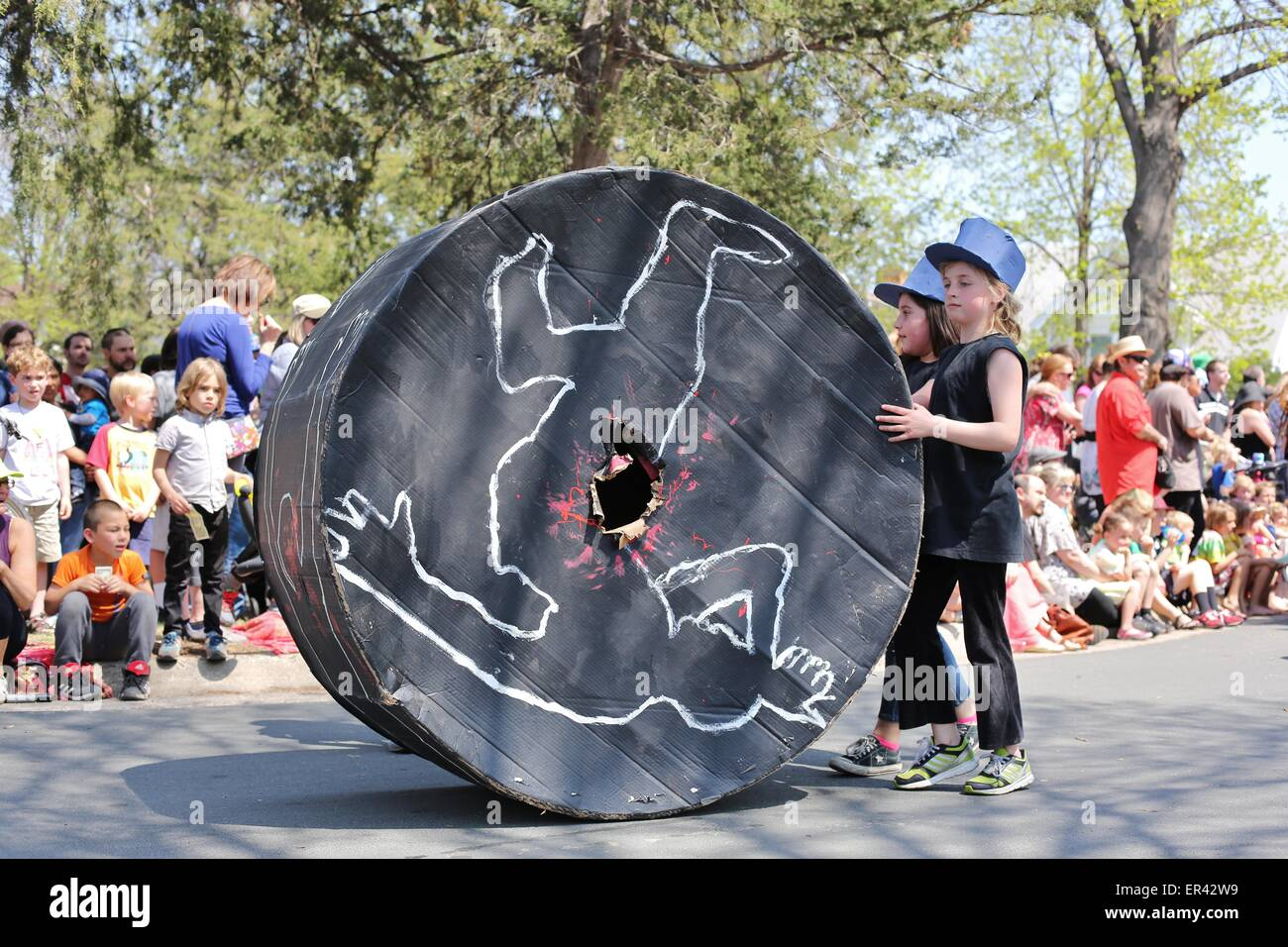 Children in the Minneapolis may day parade protesting the shooting of African American men by the police. - Stock Image
