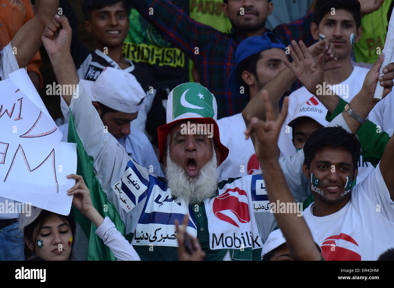 Lahore, Pakistan. 26th May, 2015. View of the first day of international cricket match between Pakistan and Zimbabwe - Stock Image