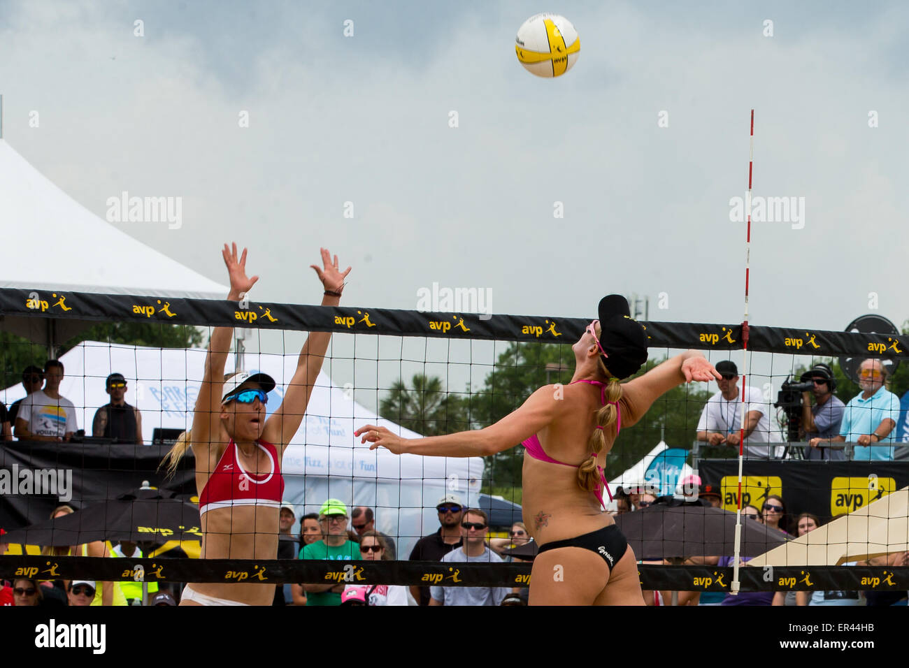 May 24, 2015 - Jennifer Kessy spikes the ball during the AVP New Orleans Open at Lake Pontchartrain in Kenner, LA. - Stock Image