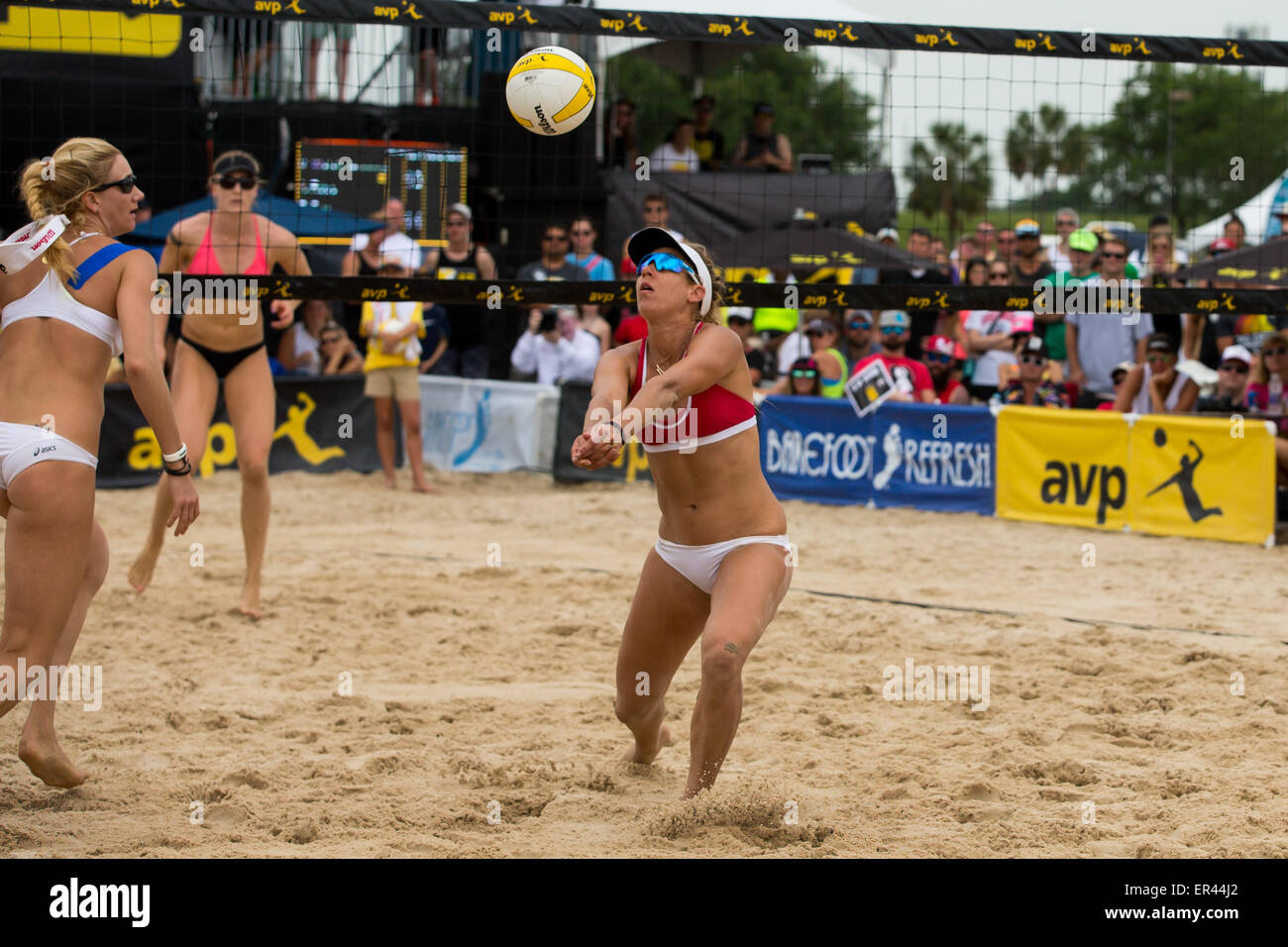 May 24, 2015 - April Ross returns the ball during the AVP New Orleans Open at Lake Pontchartrain in Kenner, LA. - Stock Image
