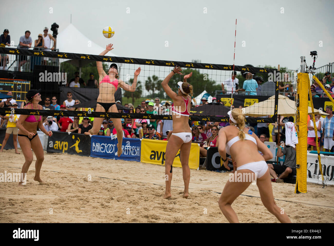May 24, 2015 - Emily Day serves the ball during the AVP New Orleans Open at Lake Pontchartrain in Kenner, LA. Stephen - Stock Image