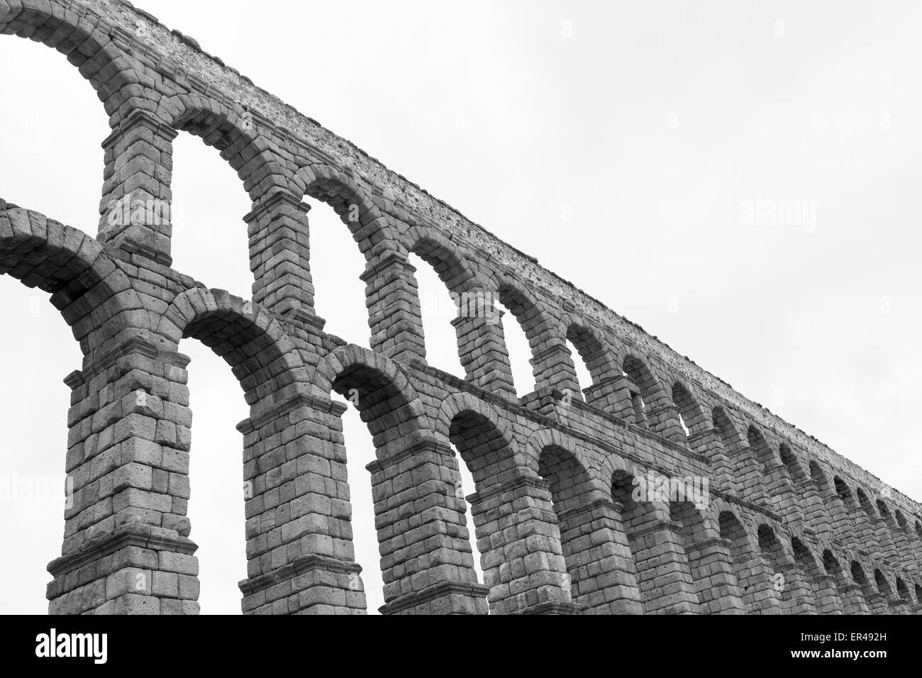 an old stone aqueduct in Segovia, Spain - Stock Image