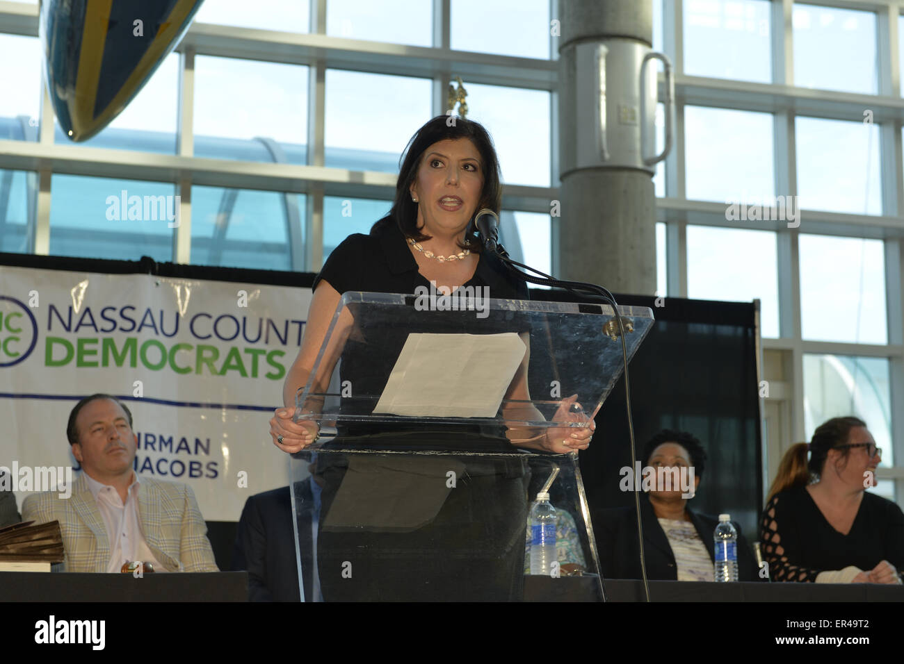 Garden City, New York, USA. 26th May, 2015. MADELINE SIGNAS, Acting District Attorney of Nassau County, speaks at - Stock Image