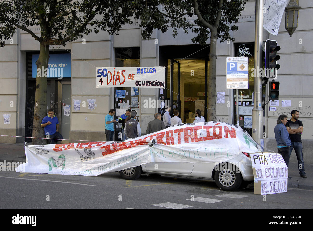 Barcelona, Spain. 27th May, 2015. Day 51 and workers from movistar telefonica company continue  strike.  Spanish - Stock Image