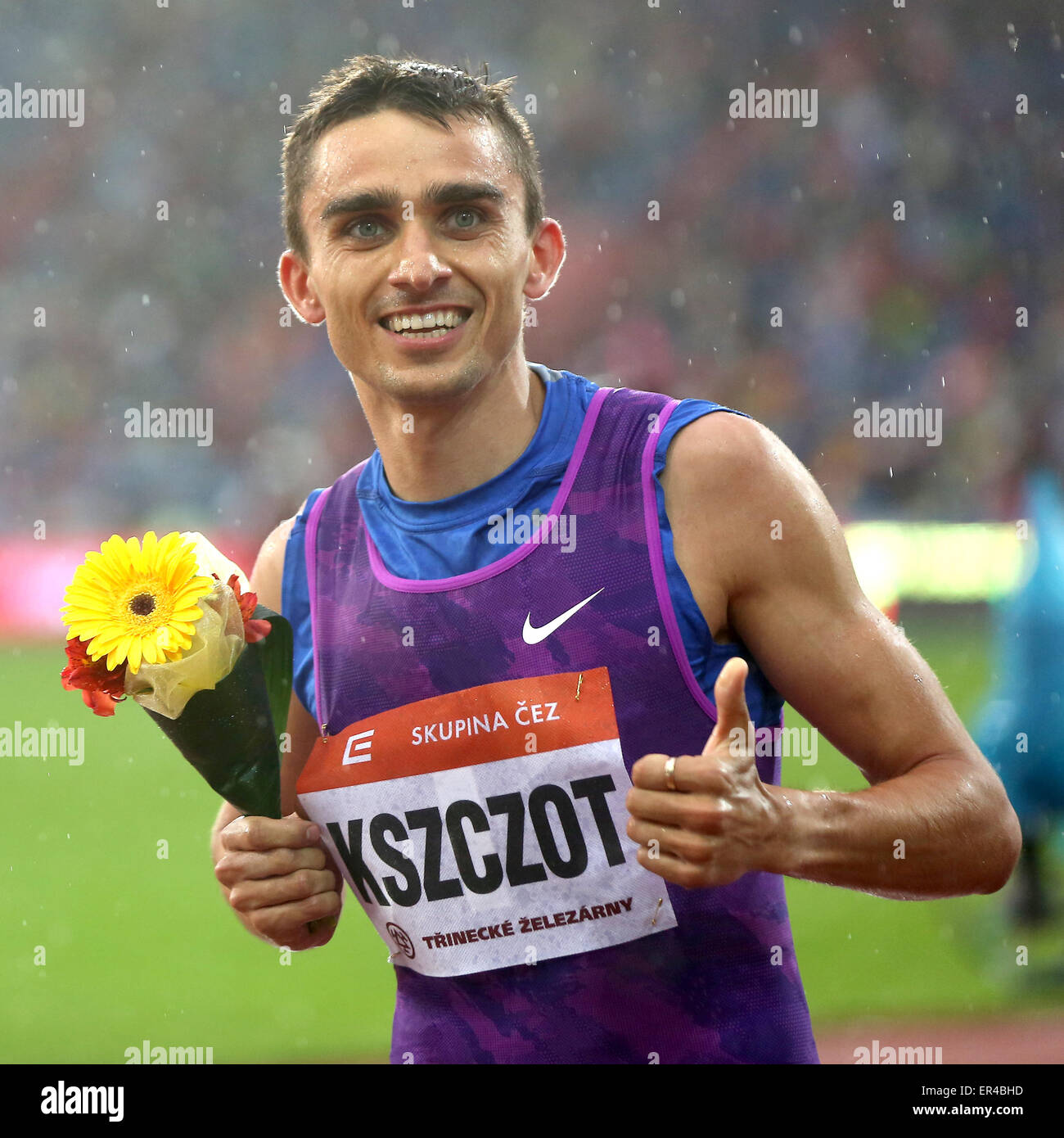 Ostrava, Czech Republic. 26th May, 2015. Polish Adam Kszczot celebrates he won the 600 metres men event at the Golden - Stock Image