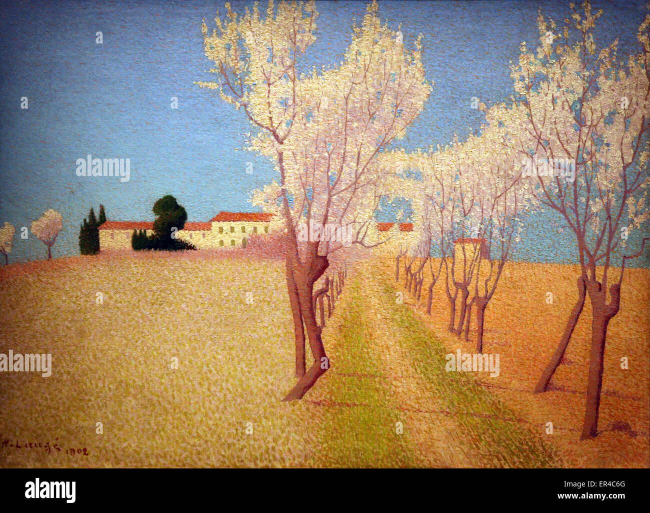 Achille Lauge - Paysage de la Gardie. pres de Cailhau 1902 Landscape of the Gardie . near Cailhau - Stock Image