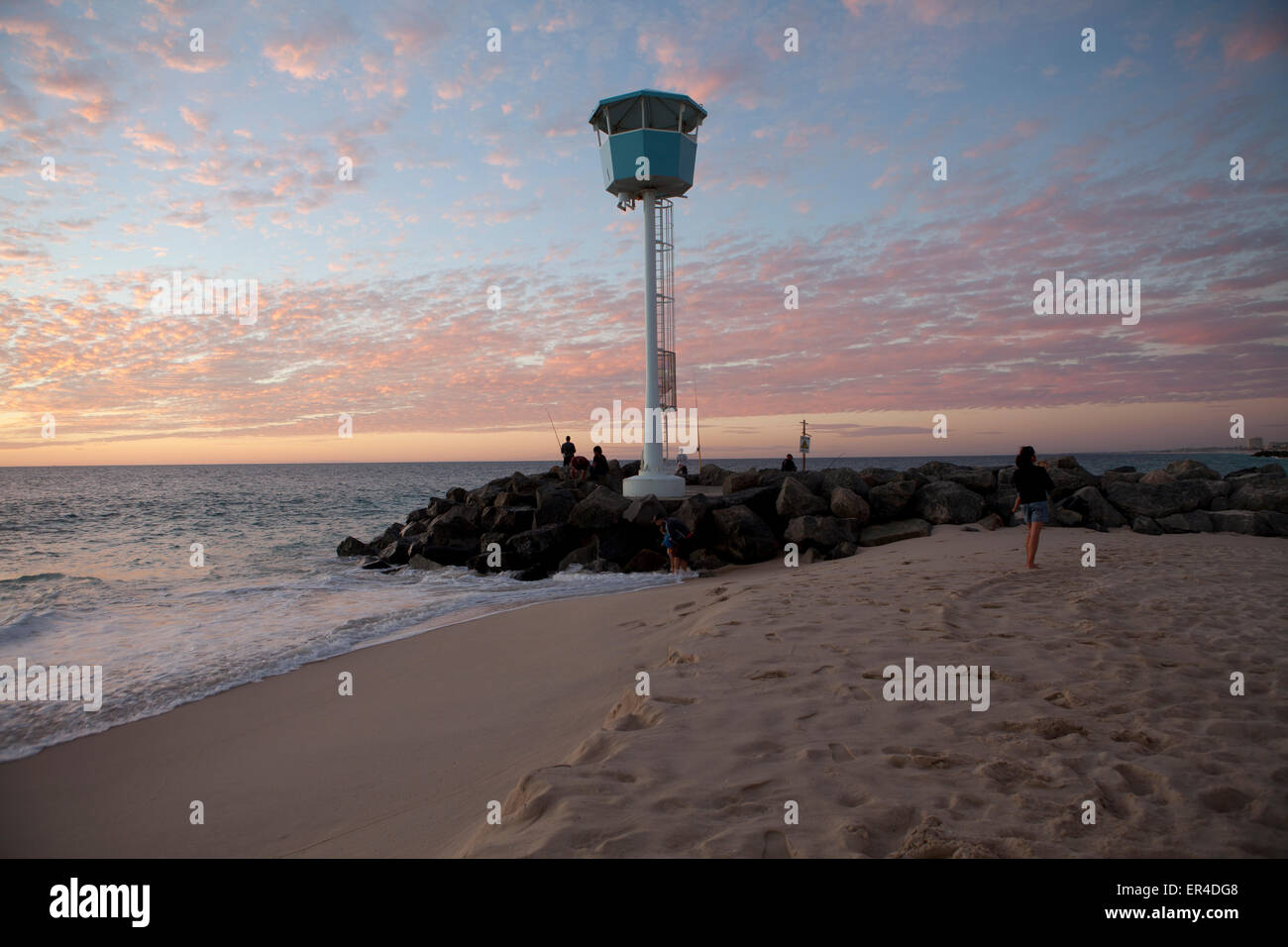 View of the Lifegaurd lookout on  City Beach in Perth during Sunset Stock Photo